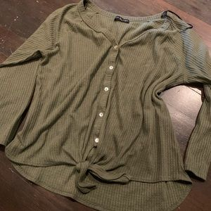 Olive green shirt with tie